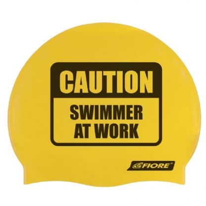 Touca De Silicone Para Natação Caution Swimmer At Work